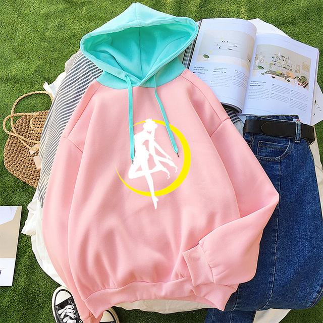 2018 Hoodies Women Casual Lady Fleece Sweatshirt Long Sleeve Loose Autumn Winter Harajuku Kawaii Cartoon Sailor Moon Cute Hooded