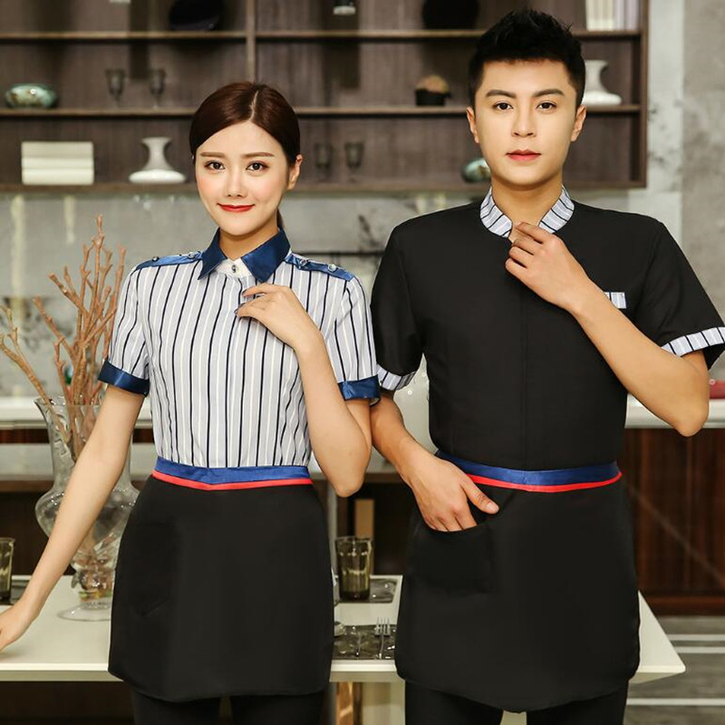 Waitress Workwear Short Sleeve Women Summer Catering Uniform Hot Pot Shop Hotel Plus Size Breathable Waiter Single Jacket H2324