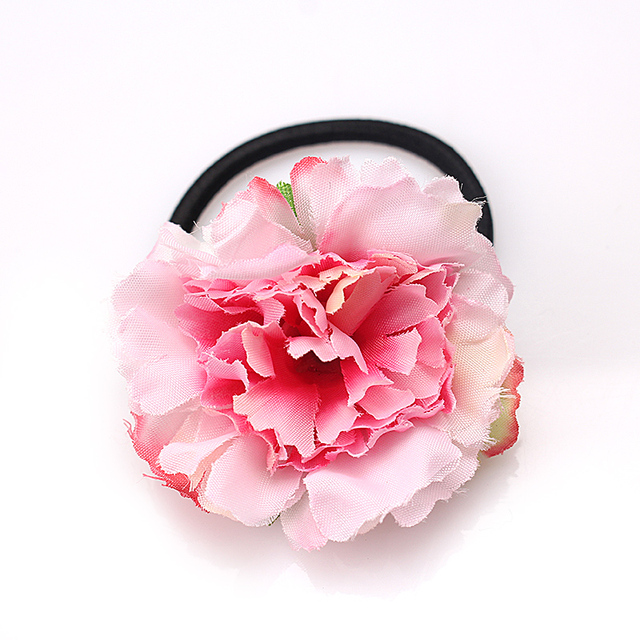 M MISM New Carnation Flowers Scrunchy Brooch Gum For Women Tie Hair Accessories Beach Floral Elastic Hair Band