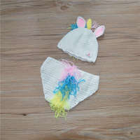 Novelty Newborn Horse Costume Handmade Knit Crochet Baby Boy Girl Animal Hat And Diaper Cover Set