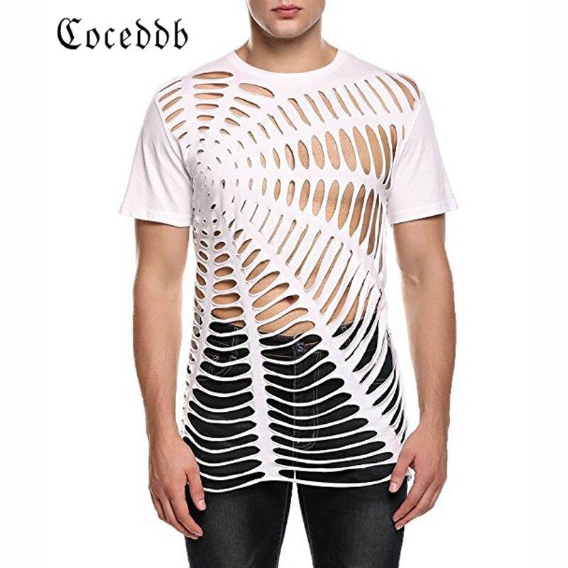 2018 new ebay AliExpress Amazon explosion models European and American mens loose hole burning summer short sleeve t-shirt