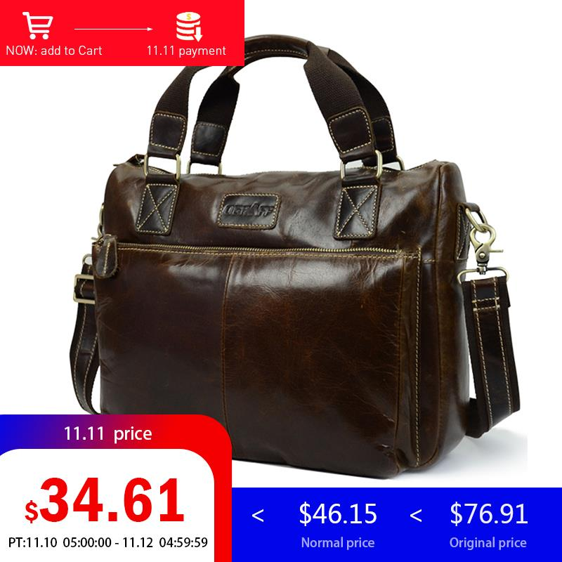 купить OGRAFF Men Shoulder Bag Men Genuine Leather Handbag Design Briefcase Crossbody Messenger Bags Men Leather Laptop Tote Travel Bag по цене 3278.34 рублей