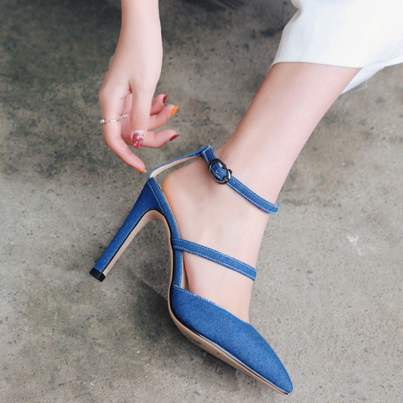 цены Women Pumps Mary Janes Big Size Shoes Patent Leather Denim High Thin Heels Pointed Toe Fashion Party Shallow Buckle Strap Solid