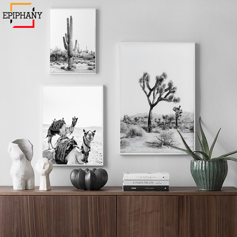 Desert Cactus Print Joshua Tree Black And White Boho Wall Art Decor Camel Animal Poster Modern Wall Pictures For Living Room