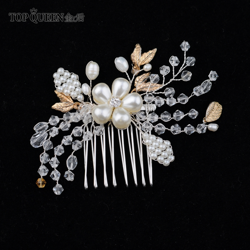 TOPQUEEN Wedding Headpiece Clear Crystal  Wedding Hair Accessories Water Drop Pearl Beaded Hair Comb Bride Hair Jewelry HP69