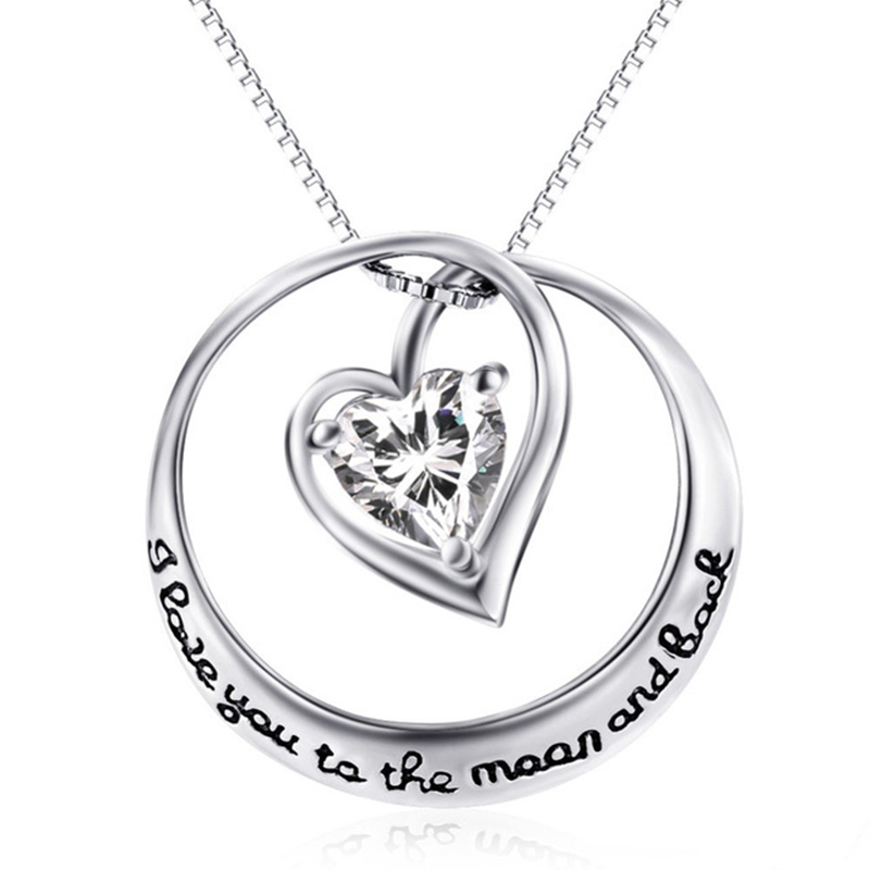 925 Sterling Silver Fine Jewelry Heart Love Circle Pendant Necklace Choker Women Girls Party Collar Gift Jewels CHX0498