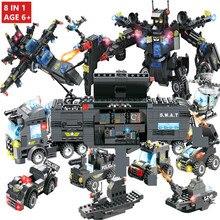 8IN1 725Pcs City Police SWAT Robot Car Building Blocks Sets DIY Creator Technic Bricks Educational Toys for Children