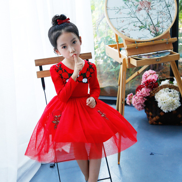 Autumn Flower Party Dress Red For Wedding Birthday Children S First Communion Dresses