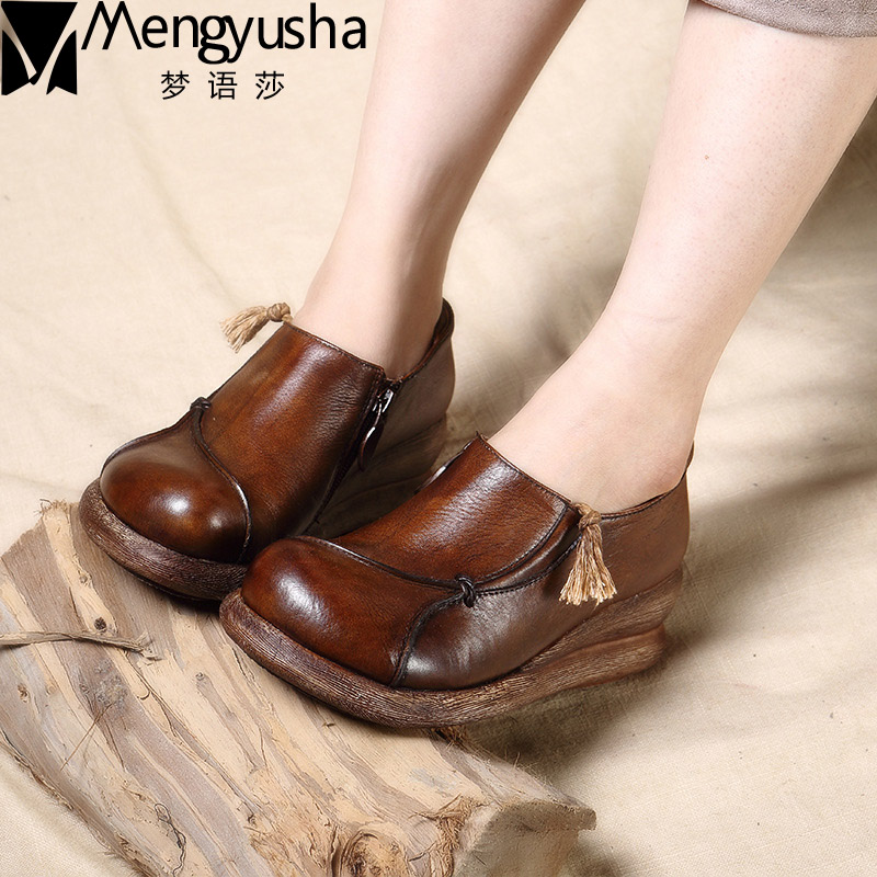 2017 Genuine Leather Shoes Women Oxfords Wedge Heels Round Toe Handmade Vintage Ethnic Autumn Shoes Women Casual Shoes summer autumn 2017 ethnic style genuine leather handmade shoes women round toe pumps hollow flower high heels