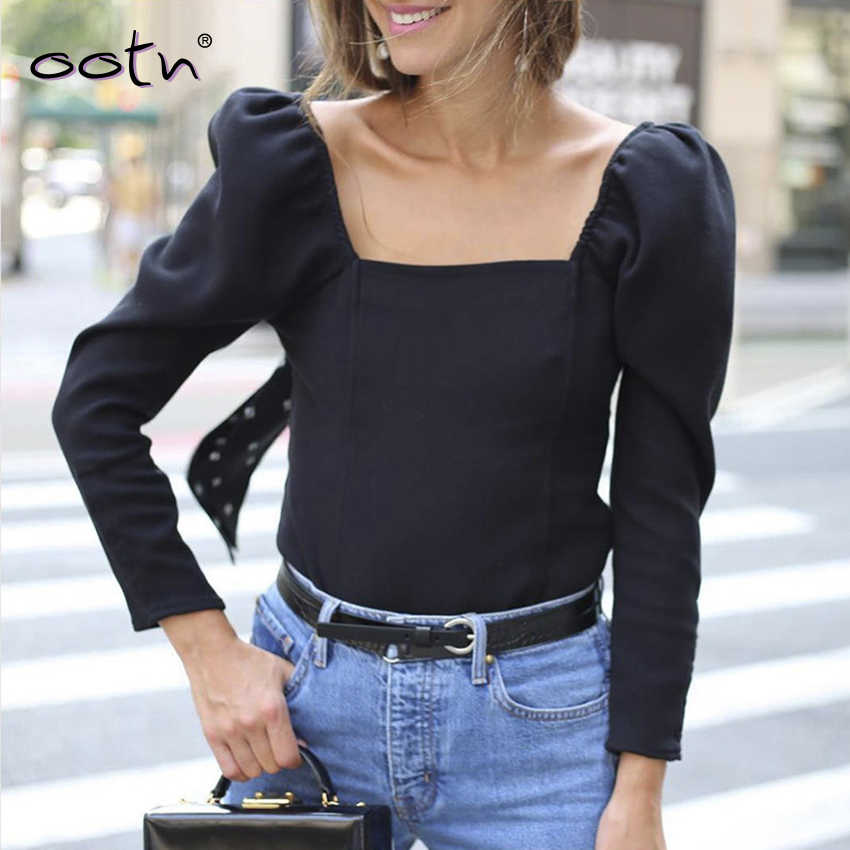 OOTN Streetwear Puff Sleeve Top Ladies Black Shirts Womens Tunic Blouses And Tops Square Collar Fall Winter Sexy Blouse Clothing