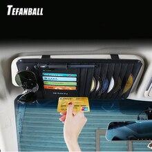 Tefanball couro do carro multifuncional cd caixa de armazenamento carro sol viseira cd caso para dvd caso óculos pasta titular do cartão de visita cd saco