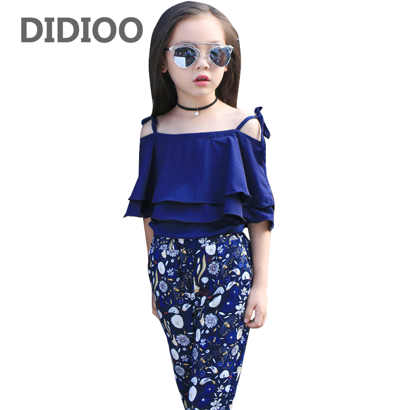 Girls Clothing Sets Layered Vest T-Shirts & Floral Pants 2Pcs Summer 2017 Girls Outfits 2 4 6 8 10 11 12 Years Children Clothing стоимость