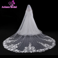 AOLANES 4 Meters veu de noiva 2018 Appliques Edge Flowers Tulle Cathedral Wedding Veils Ivory Bridal Veils Wedding Accessories