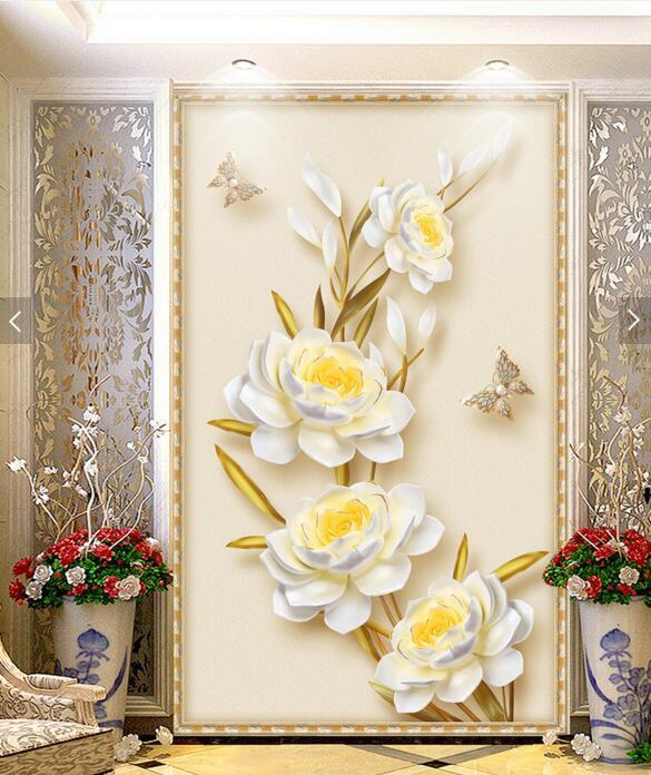 d floral pasillo para pared de papel mural de la pared para la sala de estar