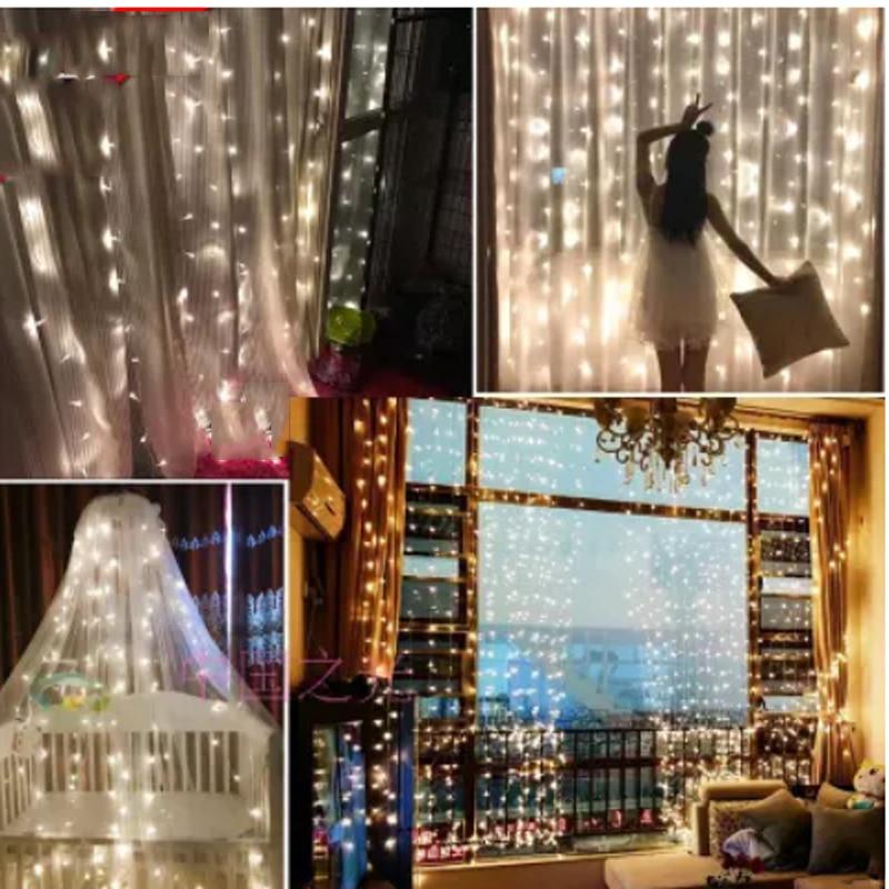 EU US Plug 3 m * 3 m 300 LED String Fairy Gordijn Licht Guirlande - Vakantie verlichting - Foto 2