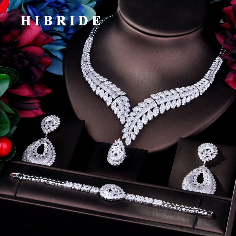 HIBRIDE Fashion Design Big Earring Pendant Full Jewelry Sets For Women Bridal Wedding Accessories Jewelry Gifts N-755HIBRIDE Fashion Design Big Earring Pendant Full Jewelry Sets For Women Bridal Wedding Accessories Jewelry Gifts N-755