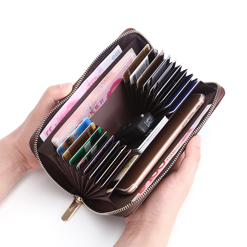 SOUTH GOOSE Brand PU Leather RFID Men Long Wallets Casual Women Zipper Organizer Wallets Large Capacity Credit Card Holder Purse