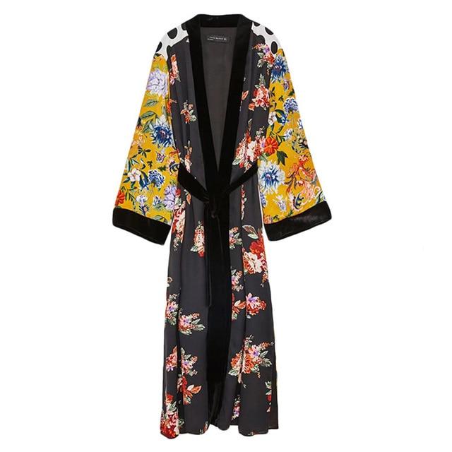 49c436e9514 Vintage Patchwork Kimono Jacket Women Long Sleeve Floral Jacket Hight Side  Split Autumn Jacket Long Kimono Chaqueta Mujer 2018