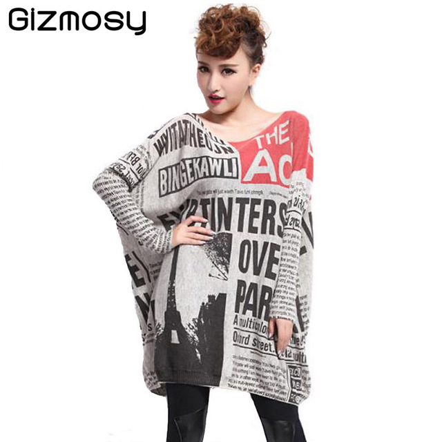 2016 Spring Women Baggy Fashion Painting Crew Neck Pullover Sweater Newspaper Loose Bat Sleeve Knitted Sweater Dress BN069