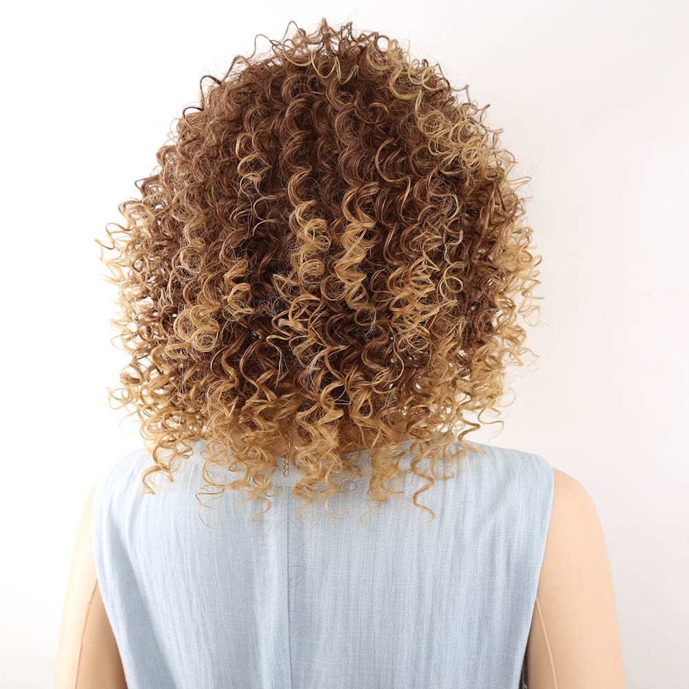 Amir Short Blonde And Brown Afro Kinky Curly Wig Fluffy Wigs for American Women Synthetic Hair High Temperature cosplay