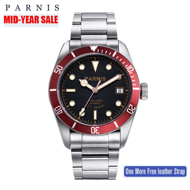 41mm Parnis Automatic Watch Full Stainless Steel Luminous 21/24 Jewle Luxury Brand Men's Mechanical Watches PA6050 Gifts for Men top brand luxury mens mechanical watches parnis 41mm full stainless steel automatic watch men rotating bezel luminous wristwatch