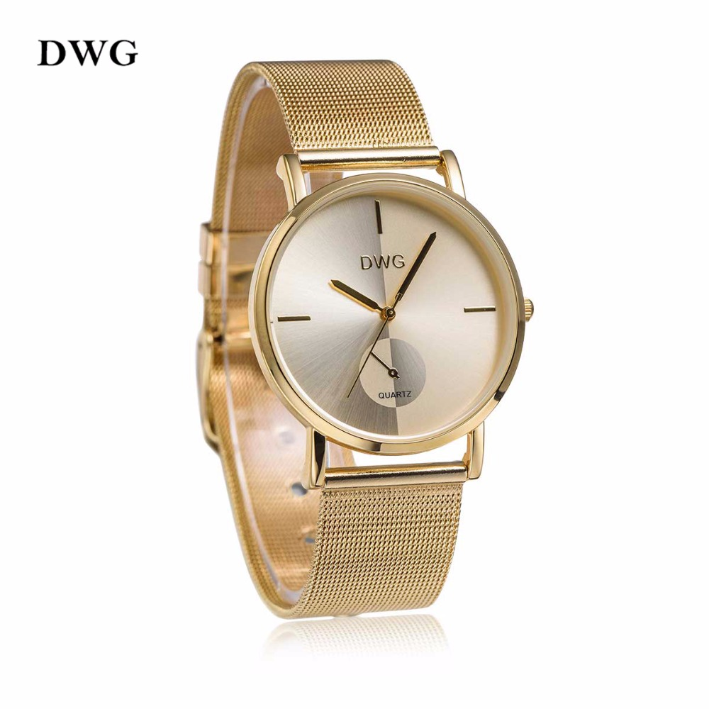 DWG Fashion Luxury Women Watches Stainless Steel Band Quartz Watch Gold Pink Sliver Lady Clock Wristwatch with a Box Reloj Mujer skone fashion simple watches for women lady quartz wristwatch stainless steel band watch for woman relogio femininos