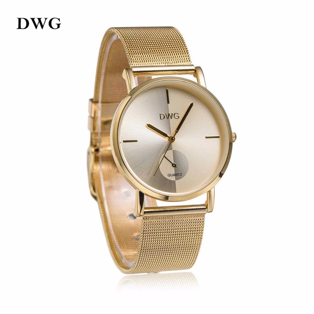 Prix pour DWG Nouvelle Mode Casual Luxury Femmes Inoxydable Steel Band Bracelet À Quartz Montres 3 Couleurs Dames Robe Horloge Or Rose Argent