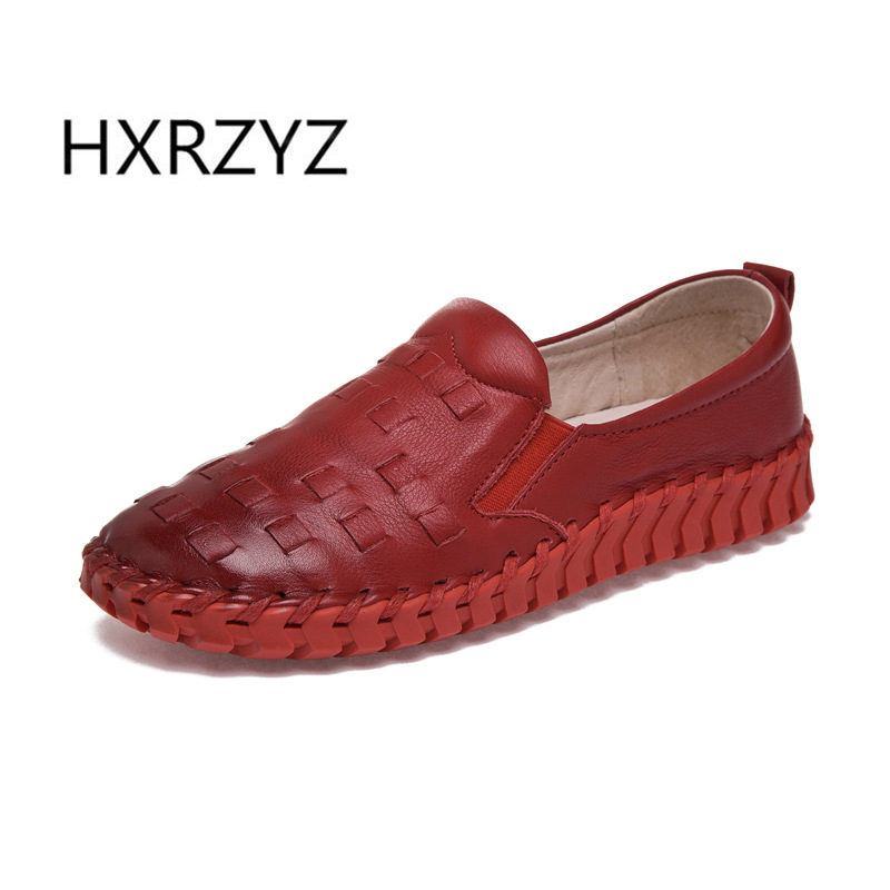 HXRZYZ spring and Autumn new genuine leather flats soft soles handmade leather woven women s shoes