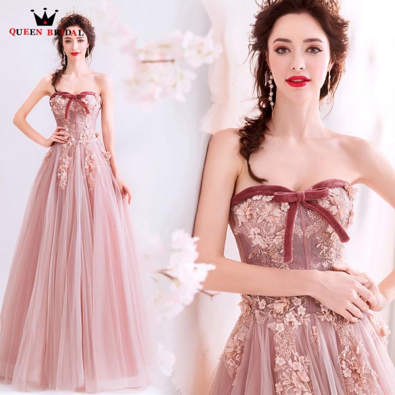 2019 New Design A Line Sweetheart Lace Appliques Long Formal   Evening     Dresses   Party Elegant Vestido De Festa Prom Gowns JK32T