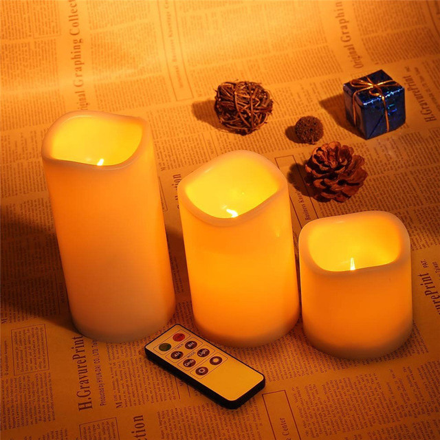 3 pcs. Romantic Candlelight Wireless Remote Control Panel LED Fliker Flameless Candle Night Light For Wedding Holiday Decoration