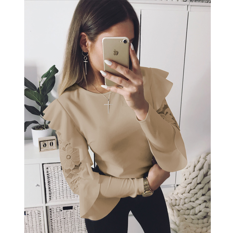 UK Trend 2018 New Sexy Women Lace Long lotus Sleeve Blouses Female Round Neck Soild Blouses Shirts Tops Clothing