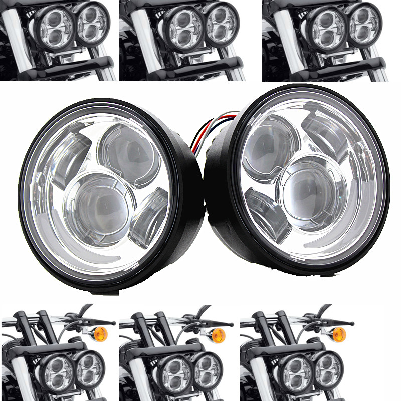 5 Dual Moto LED Headlight for 08-later for Harley Davidson Fat Bob FXDF  (Black / Chrome  With DRL )5 Dual Moto LED Headlight for 08-later for Harley Davidson Fat Bob FXDF  (Black / Chrome  With DRL )