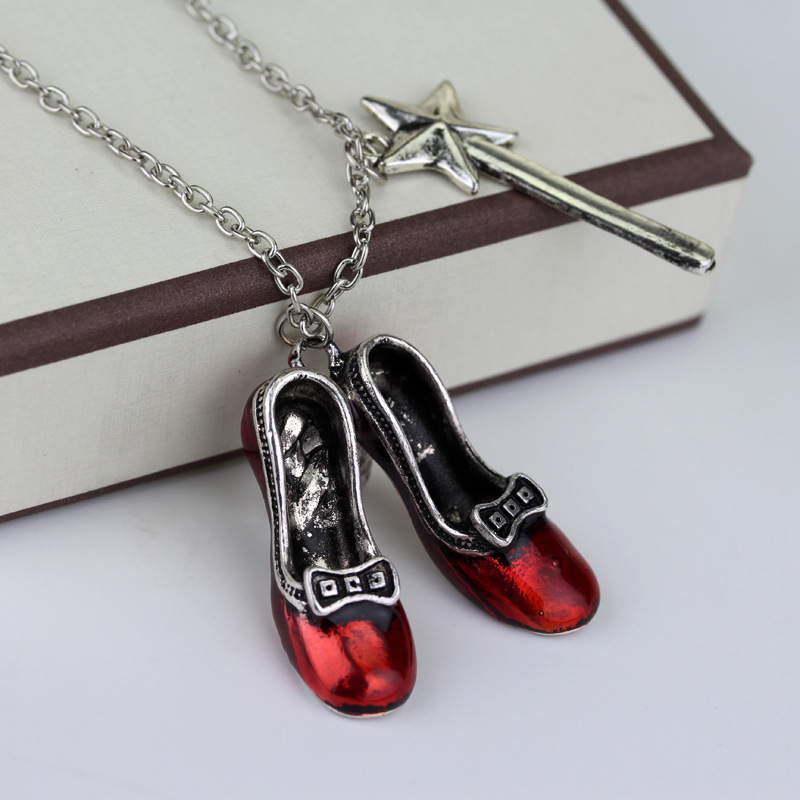 M2 Fashion Movie Alice in wonderland Series Necklace Sexy Red Shoes and Magic Wand Stars Charm Pendent For Girls and Women Gifts