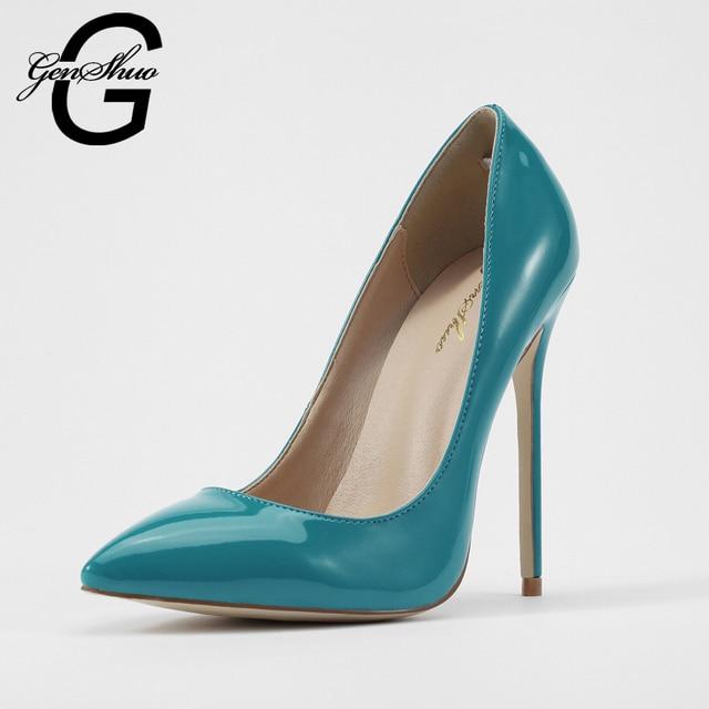 GENSHUO Шпильках Женская Обувь Высокие Каблуки 12 СМ Высокие Каблуки Голубой Обувь Насосы Женщин Каблуки Сексуальные Острым Носом Свадебные обувь