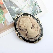 Vintage Cameo elegante broche de moda de las mujeres estilo retrato BroochFor antiguo joyería de la boda 1Pc cabeza de Reina