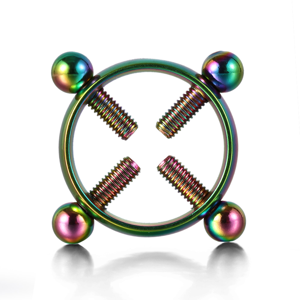 1 Pair Fashion Round Non-Piercing Nipple Ring Shield Body Piercing Jewelry Nickel-Free Fake Piercing 316L Surgical Steel body jewelry