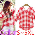 Artigo camisas femininas blusas 2016 Casual Solto verão tops feminino blusa Xadrez vermelha camisa mulheres blusas mulher roupas plus size S ~ 5XL