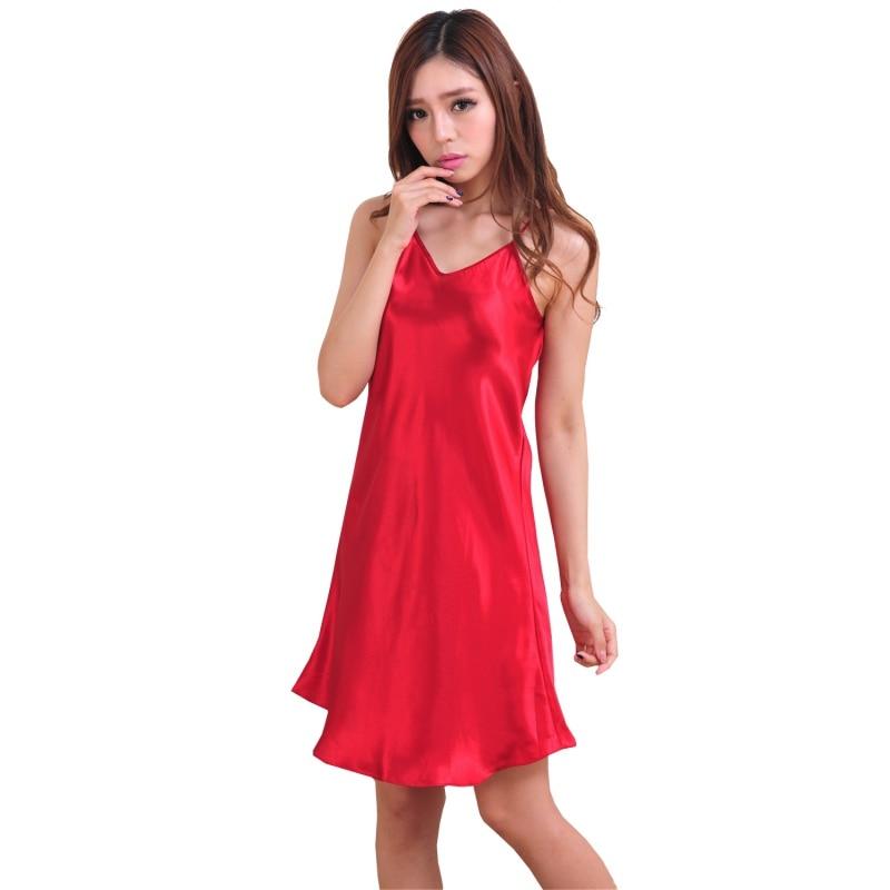 2018 Women Silk Satin Sleep Dress Babydoll Nightdress Summer Spaghetti Straps Nightgown Female Solid Sleepwear Sexy Lingerie
