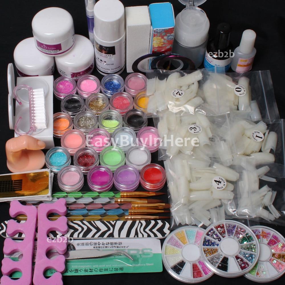 Full Acrylic Powder Primer Glitte 500pcs Tips Brush Glue Dust Nail Art Tool Set Kits Russia