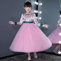 Winter Girl Cheongsam Dress Birthday Wedding Kids New Year Party Prom Gown Clothing Autumn Long Sleeve Flower Dresses Kids Frock