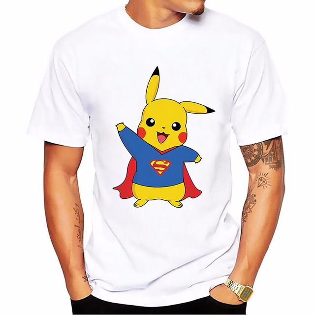 O Segredo de Nikola Tesla Homens T-shirt Ponto Pikachu Pokemon Ir Em Thor Armadura Bola Assistente Naruto Deadpool Homem De Ferro Superman tshirt