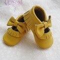 Mostaza Zapato de Bebé de Mary Jane Del Bebé Mocasines de Cuero Genuino