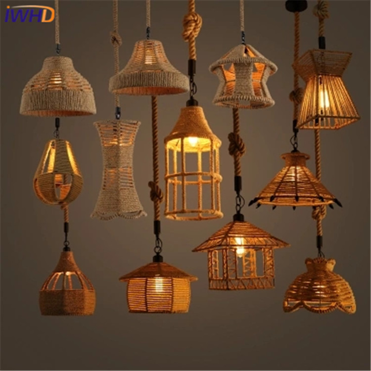 8 heads style loft industrial pendant light fixture dinning room hemp rope lamp vintage lights led edison style IWHD Vintage Rope Pendant Light Lamp Loft Industrial Lamp Edison Bulb Lights Fixtures American Style Iuminacion For Living Room