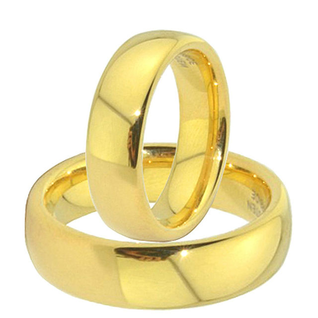 6mm Classic Gold Color Titanium Steel Engagement Wedding Rings Sets For Men  And Women Alliance Anel