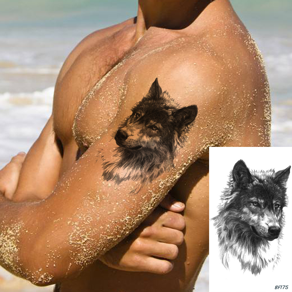 Temporary Black Wolf Tattoo Stickers Men Body Arm Art Fake Tatoos Sketch Women Chest Small Waterproof Tattoo Tribal Transferable