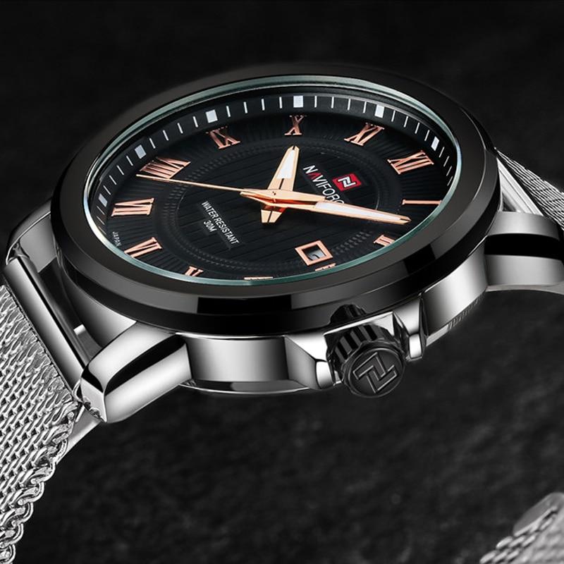 NAVIFORCE De Luxe Marque Montre Hommes Maille Sangle Analogique Date Quartz Casual Horloge Homme Montre-Bracelet Relogio Masculino Montre Homme