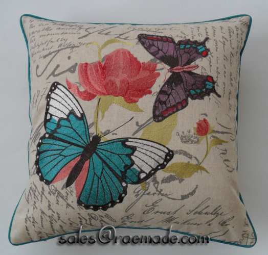 New Purple Blue Butterfly Bed Pillow Embroidered Decorative Pillow Custom Purple Decorative Pillows For Bed