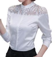 S 2xl Plus Size Slim Quality Women Shirts Fashion Stand Embroidery Patchwork Long Sleeve Chiffon Blouse