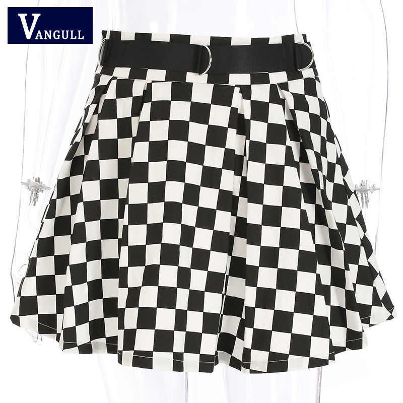 Vangull Frauen Mode Schachbrett Hohe Taille Rock 2019 Streetwear Baumwolle Plaid Röcke Tanzen Koreanischen Stil Kurzen Mini Röcke