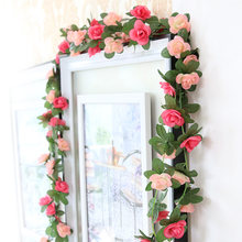 250cm Artificial Vine Flowers Silk Small Roses Fake Flowers With Plastic Green Leaves Roses Vine Wall Hanging Garland Decoration(China)